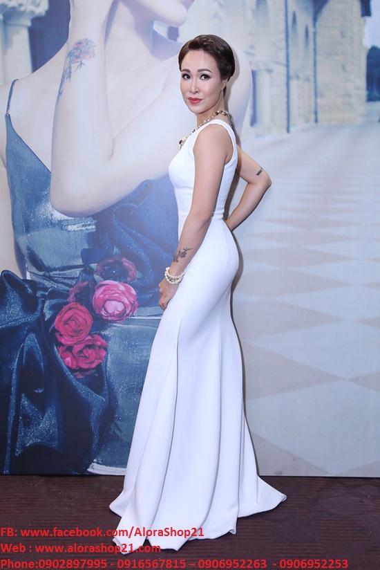 Đầm dạ hội lệch vai xẻ đùi sexy táo bạo - D282