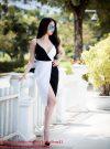 Đầm body ngọc trinh hai dây chân váy xẻ phối màu