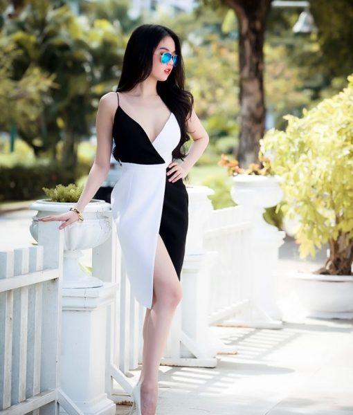 Đầm body ngọc trinh hai dây chân váy xẻ phối màu – DN01