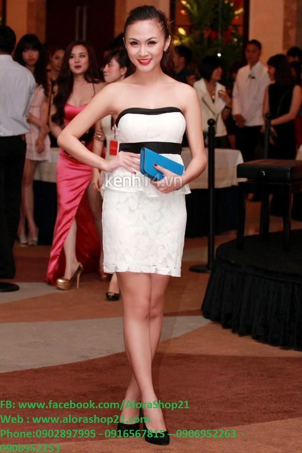 Đầm body trắng cúp ngực viền đen duyên dáng – DN03