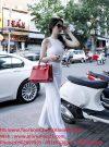 Set áo crop top kết hợp quần dài trắng sang chảnh