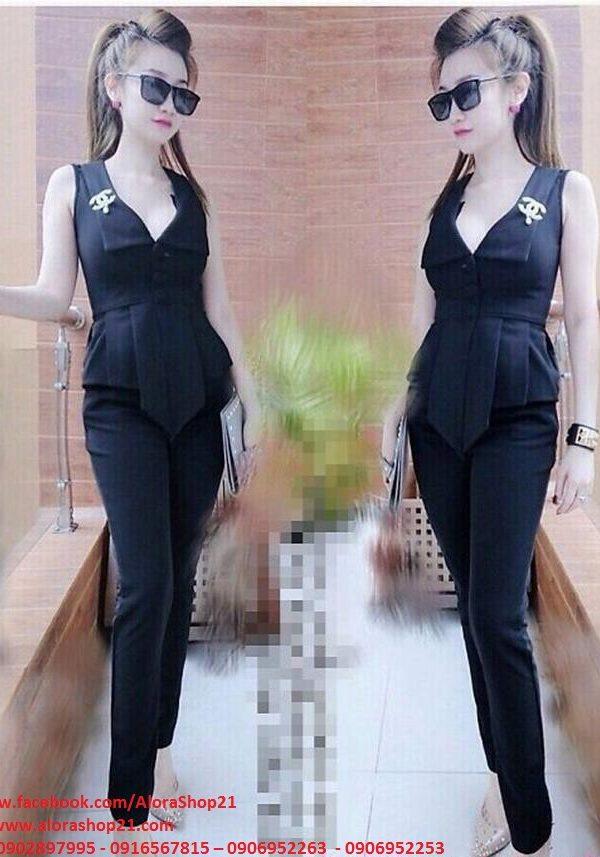 Set áo peplum cổ vest quần dài phối cực sang – J06
