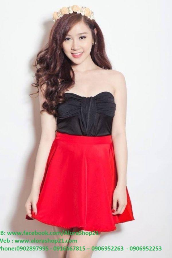 Chân váy xòe đỏ xinh xắn dễ thương – VN10