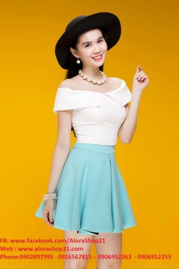Chân váy xòe ngắn xếp ly như Ngọc Trinh – VN11