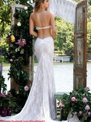 Váy dài dự tiệc ren trắng sang trọng quý phái – D286