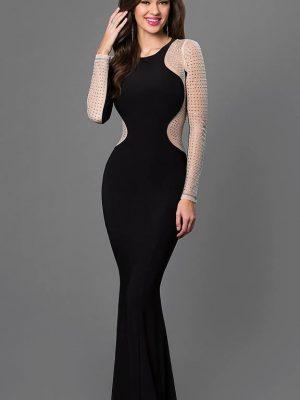 Đầm dạ hội đen tay dài sexy sang trọng quý phái - D287