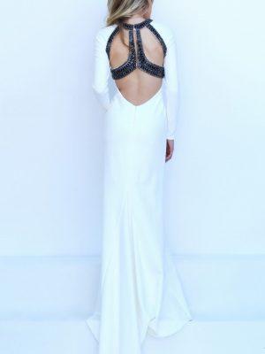 Đầm dạ hội tay dài trắng phối đen đẳng cấp – D289
