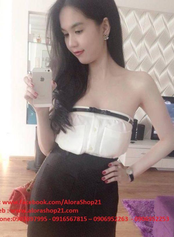Áo ống cúp ngực trắng 2 túi Ngọc Trinh – A11