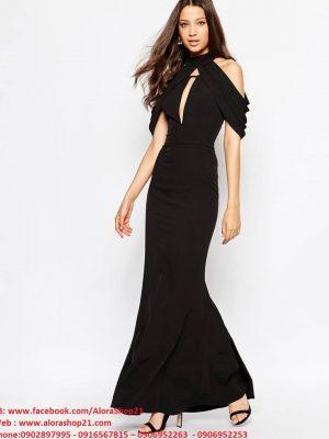 Đầm dạ hội đen hở lưng thiết kế độc đáo - D291