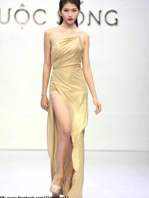 Đầm dạ hội lệch vai xẻ đùi quyến rũ sang trọng - D292