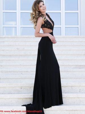Đầm dạ hội cúp ngực khoét eo sexy phối ren sang trọng - D293