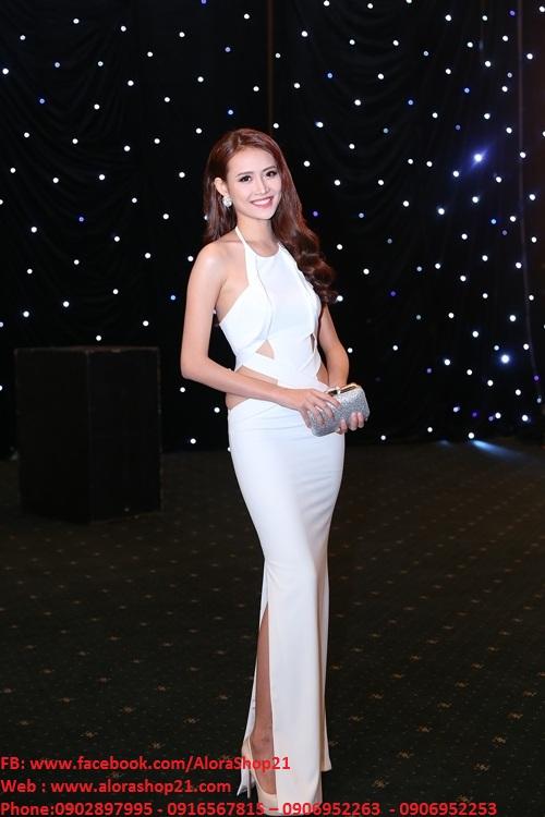 Đầm dài dự tiệc trắng sexy quyến rũ như Trương Mỹ Nhân – D294