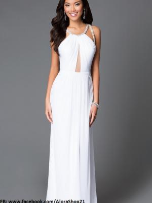 Đầm dạ hội trắng hở lưng phối đá đơn giản mà sang trọng - D298