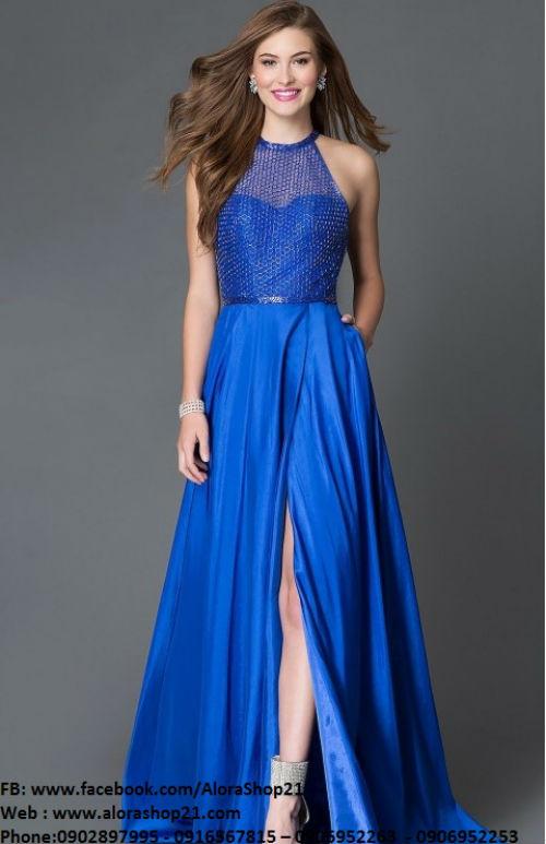Váy dạ hội phối lưới hở lưng sành điệu sexy – D299