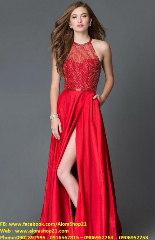 Váy dạ hội phối lưới hở lưng sành điệu sexy - D299
