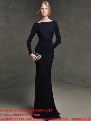 Váy dài dự tiệc đen tay dài hở lưng - D300