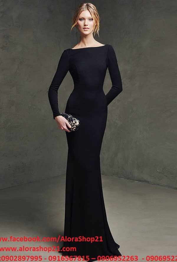Váy dài dự tiệc đen tay dài hở lưng – D300