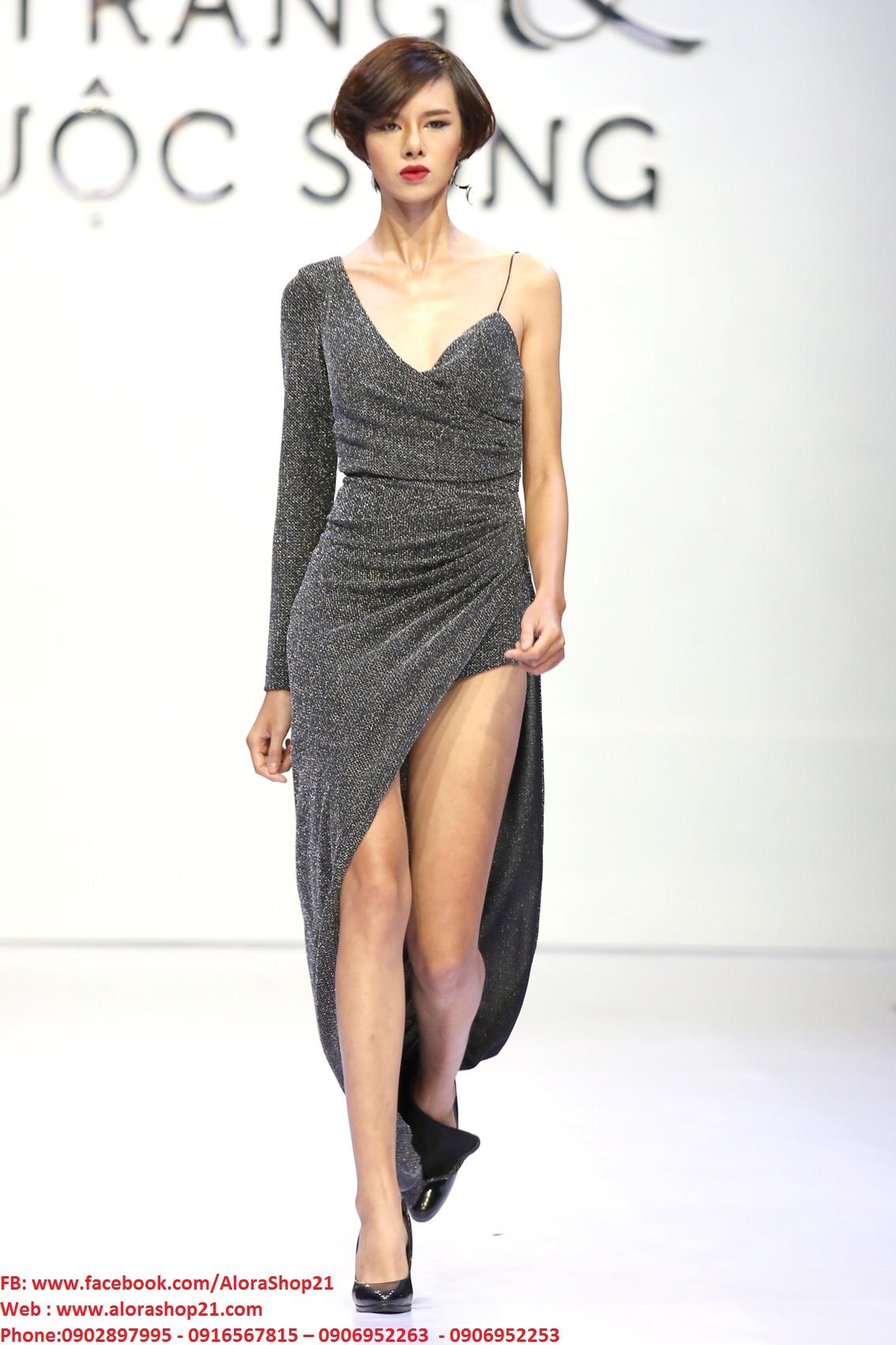 Đầm dạ hội lệch vai xẻ đùi sexy quyến rũ - D302