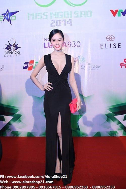 Đầm dạ hội đen xẻ đùi khoét ngực sâu như Linh Chi - D303