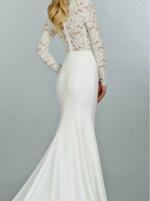 Váy dạ hội trắng khoét ngực sâu phối ren cao cấp - D305