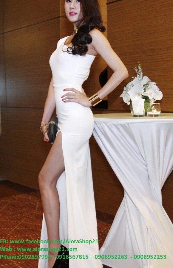 Đầm dạ hội dài xẻ đùi lệch vai quyến rũ sang trọng - D313