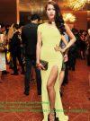 Đầm dạ hội dài xẻ đùi lệch vai quyến rũ sang trọng – D313
