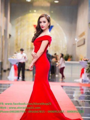 Đầm dạ hội đỏ trễ vai sang trọng tôn dáng - D314
