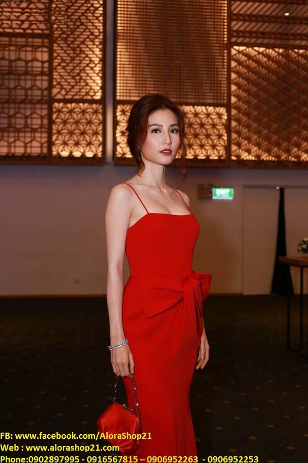 Váy dạ hội đỏ phối nơ eo độc đáo như Diễm My - D317