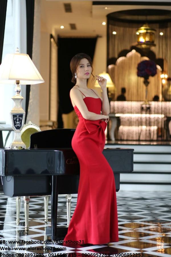 Váy dạ hội đỏ phối nơ eo độc đáo như Diễm My – D317