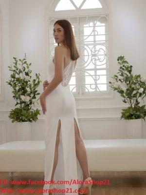 Đầm dạ hội trắng phối ren sexy cut out độc đáo - D318