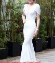 Đầm maxi trắng xẻ cổ V sexy kiểu cổ đổ sau sành điệu - D321