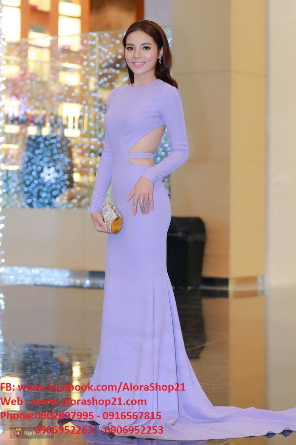 Váy dạ hội tím nhạt tay dài hở lưng cut out tinh tế - D322
