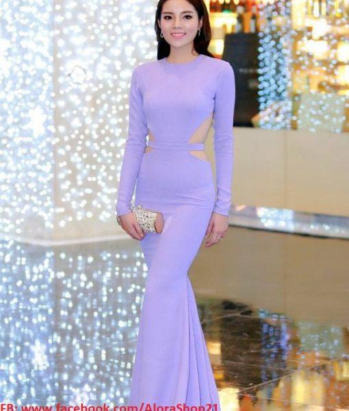 Váy dạ hội tím nhạt tay dài hở lưng cut out tinh tế – D322