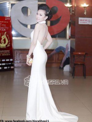Đầm dạ hội thiết kế cổ yếm khoét eo và hở lưng sành điệu - D324