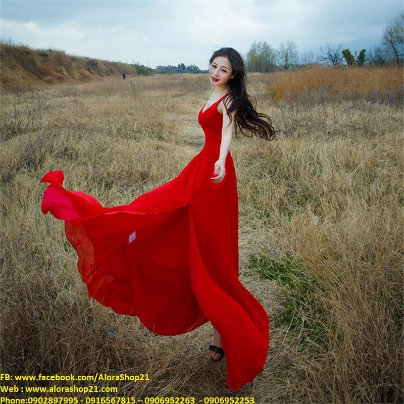 Váy dạ hội 2 dây xẻ đùi tôn dáng quyến rũ - D330