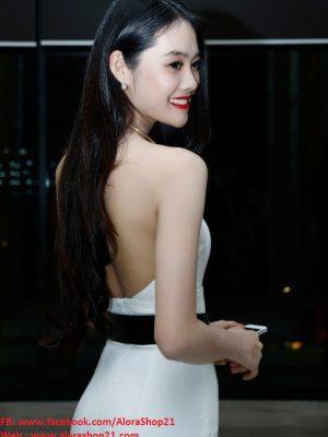 Đầm yếm dạ hội dài cổ kiềng kim loại như Linh Chi quyến rũ - D332