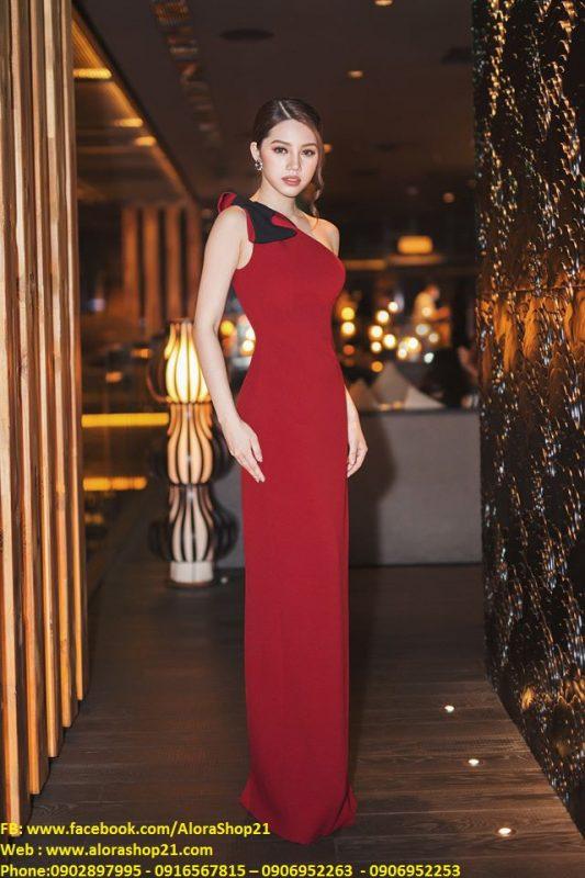 Váy dạ hội đẹp thiết kế lệch vai đính nơ sang trọng - D338