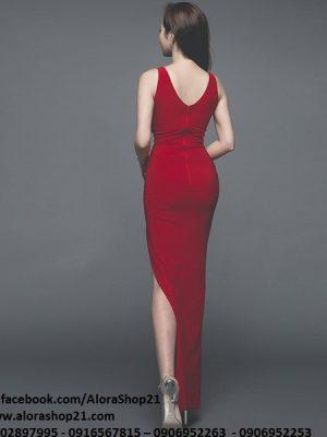 Đầm dài dự tiệc cưới thiết kế cổ đổ ôm body xẻ tà màu đỏ - D341