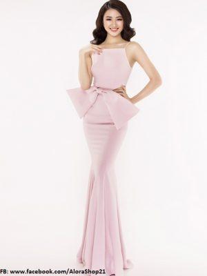 Váy dạ hội 2 dây phối nơ eo hồng pastel dễ thương tôn dáng- D343
