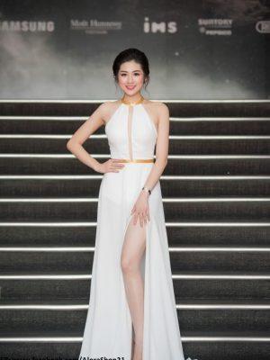 Đầm dạ hội thiết kế xẻ đùi phối dây vàng tuyệt đẹp - D344
