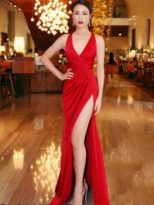 Đầm dạ hội xẻ tà thiết kế tinh tế như Hoàng Thùy Linh - D345
