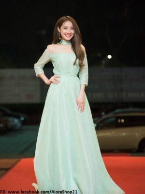 Váy dài dự tiệc cổ choker màu pastel nhẹ nhàng như Nhã Phương - D347