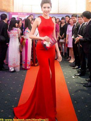 Áo đầm dạ hội màu đỏ xẻ giữa như Á Hậu Thúy Vân - D348