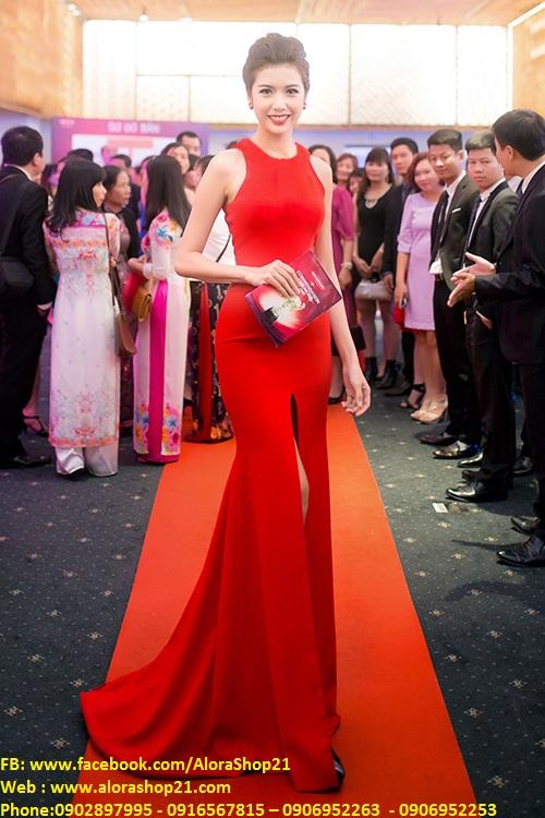 Áo đầm dạ hội đỏ xẻ giữa như Á Hậu Thúy Vân - D348