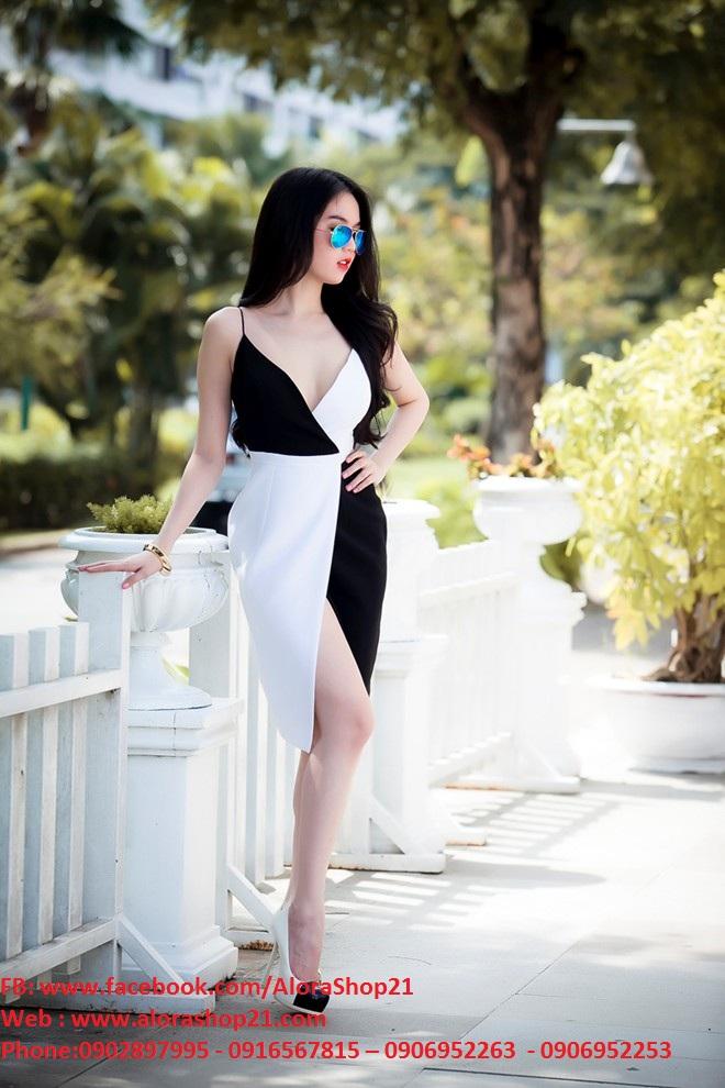 Đầm body ngọc trinh hai dây chân váy xẻ phối màu - DN01