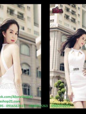 Đầm body trắng khoét ngực hở lưng như Ngọc Trinh - DN05
