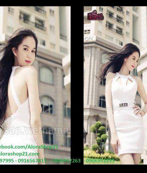 Đầm body trắng khoét ngực hở lưng như Ngọc Trinh – DN05