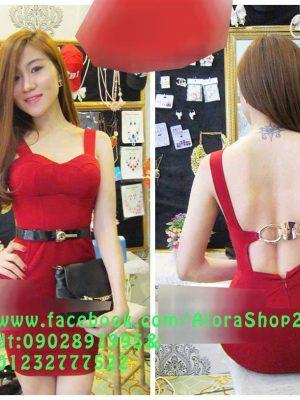 Đầm ôm màu đỏ sang trọng thiết kế cúp ngực cài khóa sau - DN09