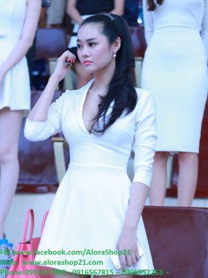 Đầm xòe tay dài cổ hở V sâu cực xinh như Linh Chi - DN10
