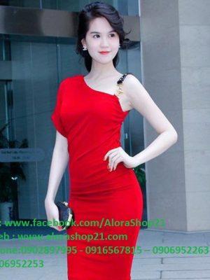Đầm body lệch vai đơn giản tôn dáng như Ngọc Trinh - DN12